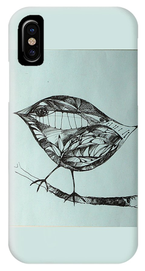 Artwork IPhone X Case featuring the drawing Bird On A Brench by Cristina Rettegi