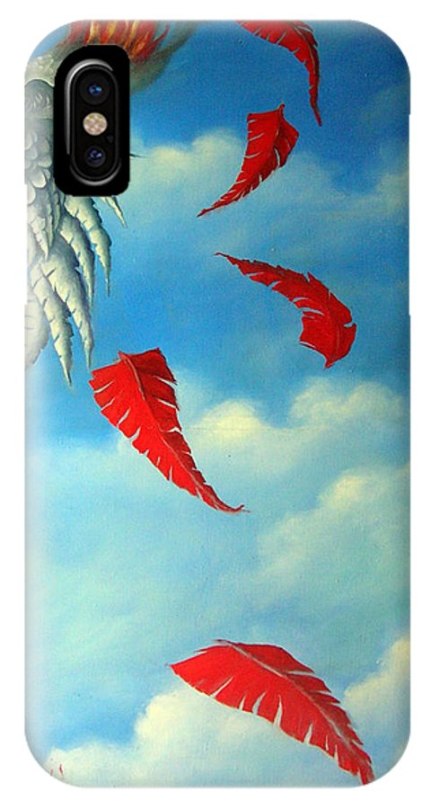 Surreal IPhone X Case featuring the painting Bird On Fire by Valerie Vescovi