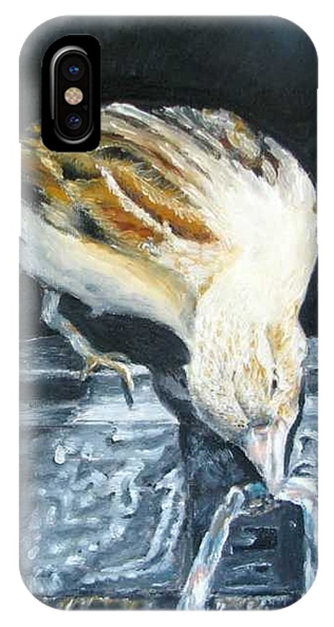 Oil Painting On Canvas IPhone X Case featuring the painting Bird Original Oil Painting by Natalja Picugina