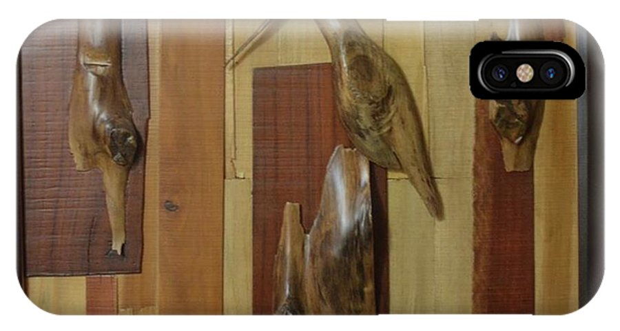 IPhone X Case featuring the painting Bird Painting With Wooden Waste by Pooja Shirke