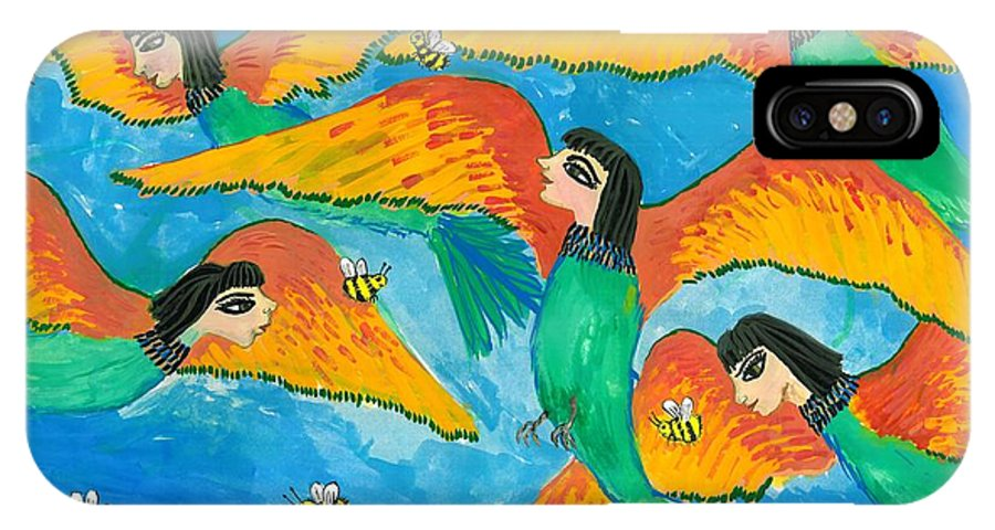 Sue Burgess IPhone X Case featuring the painting Bird People Little Green Bee Eaters Of Upper Egypt by Sushila Burgess
