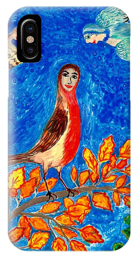 Sue Burgess IPhone X Case featuring the painting Bird People Robin by Sushila Burgess