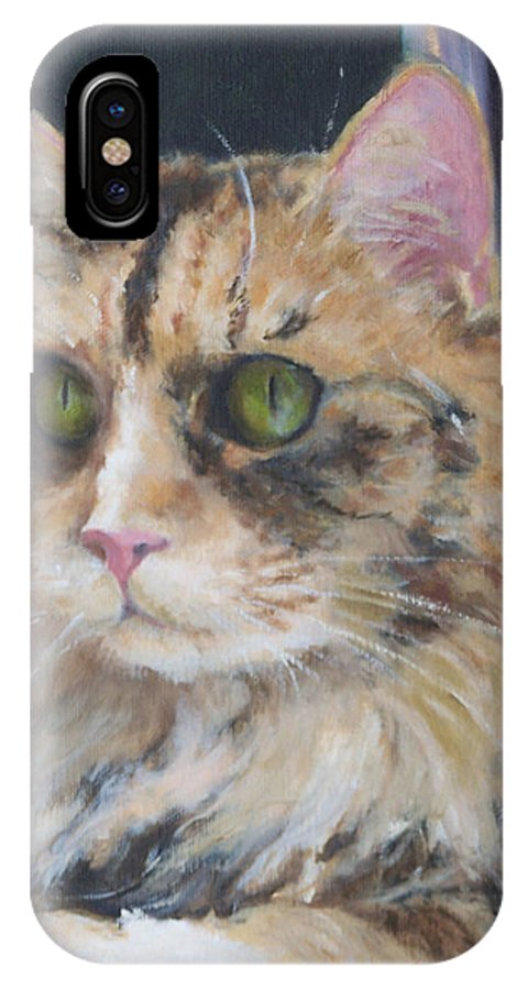 Feline IPhone X Case featuring the painting Bird Watching by Alicia Drakiotes