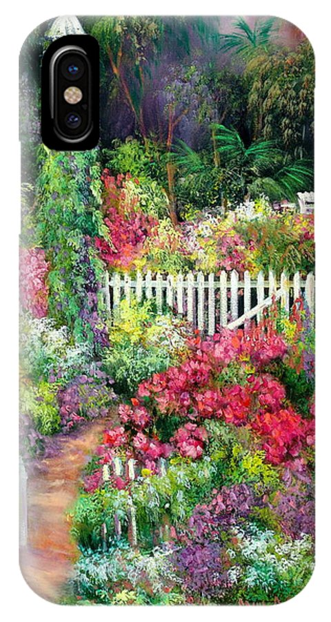 Flowers IPhone X Case featuring the painting Birdhouse Garden by Sally Seago