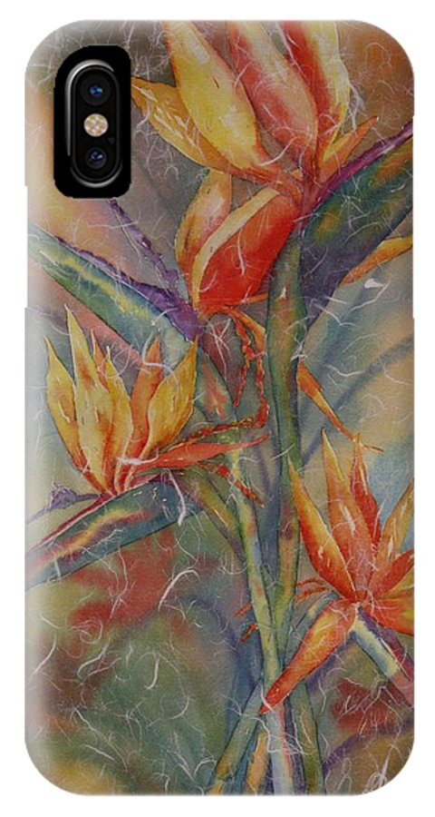 Bird Of Paradise IPhone X Case featuring the painting Birdies by Tara Moorman