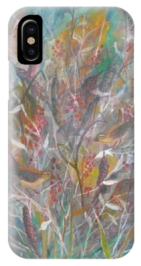 Birds IPhone X Case featuring the painting Birds In A Bush by Ben Kiger