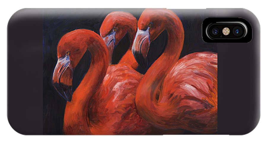 Flamingos IPhone X Case featuring the painting Birds Of A Feather by Billie Colson