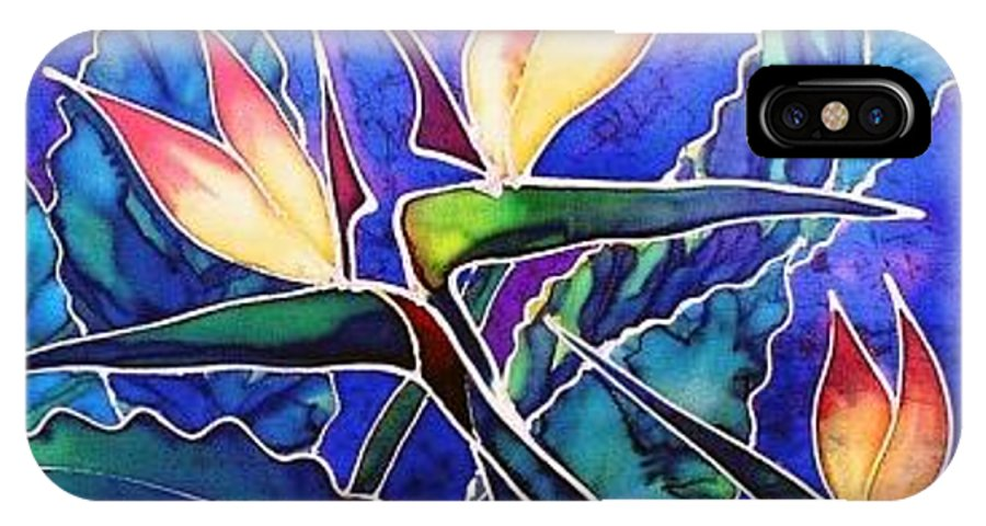 Silk Painting IPhone X Case featuring the painting Birds Of Paradise II by Francine Dufour Jones