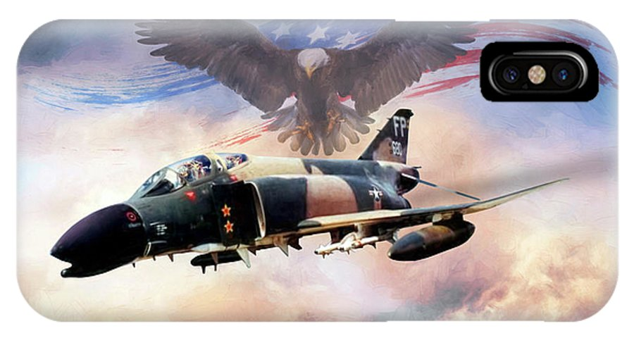Aviation IPhone X Case featuring the digital art Birds Of Prey by Peter Chilelli