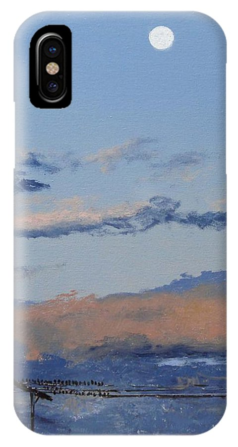 Landscape IPhone Case featuring the painting Birds On A Wire by Barbara Andolsek