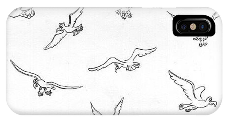 Birds IPhone X / XS Case featuring the drawing Birds, Seaguls by Ersin Ipek