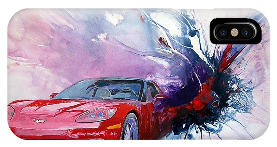 Red Corvette; C6; IPhone X Case featuring the painting Birth Of A Corvette by John Gabb