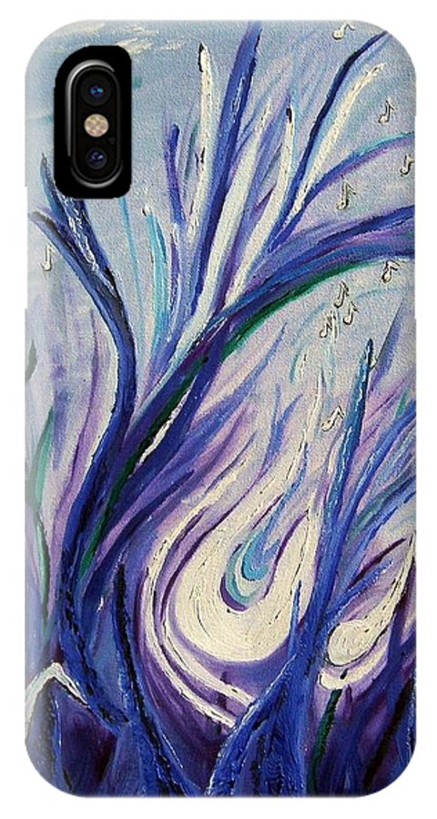 Music IPhone X Case featuring the painting Birth Of Music by Lisa Rose Musselwhite