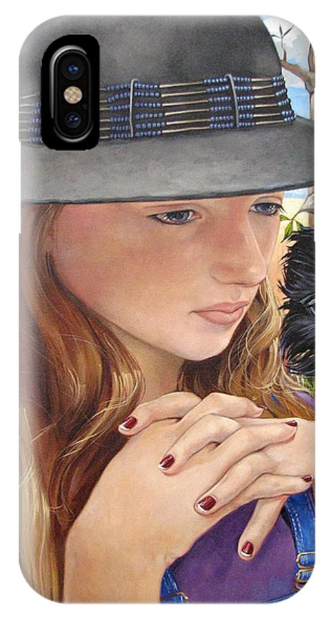Girl IPhone X Case featuring the painting Birth of the Scheme by Jerrold Carton