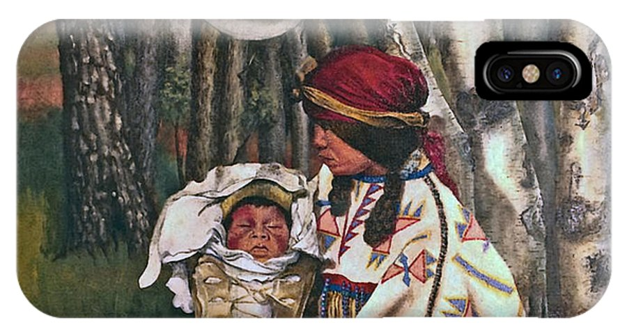 Native American IPhone X Case featuring the painting Birth Spirit by Peter Muzyka