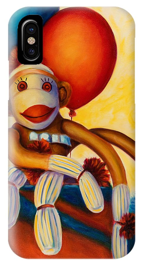 Sock Monkey Brown IPhone X Case featuring the painting Birthday Made Of Sockies by Shannon Grissom