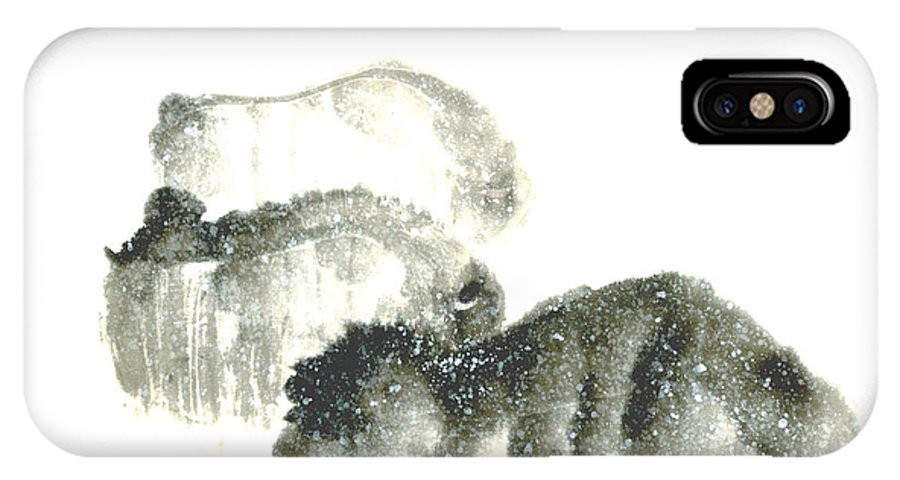 A Herd Of Bison Grazing In Snow. This Is A Contemporary Chinese Ink And Color On Rice Paper Painting With Simple Zen Style Brush Strokes.  IPhone Case featuring the painting Bison In Snow II by Mui-Joo Wee