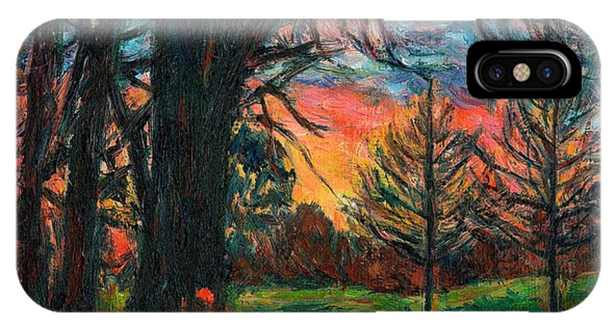 Landscape IPhone X Case featuring the painting Bisset Park Sunrise by Kendall Kessler