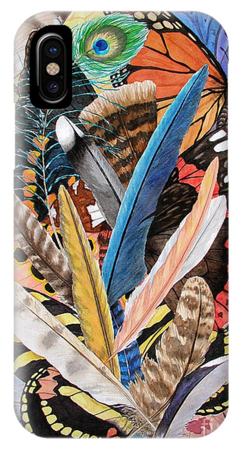 Feathers IPhone Case featuring the painting Bits Of Flight by Lucy Arnold