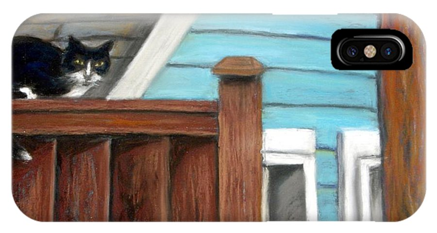 Cat IPhone Case featuring the painting Black Alley Cat by Minaz Jantz