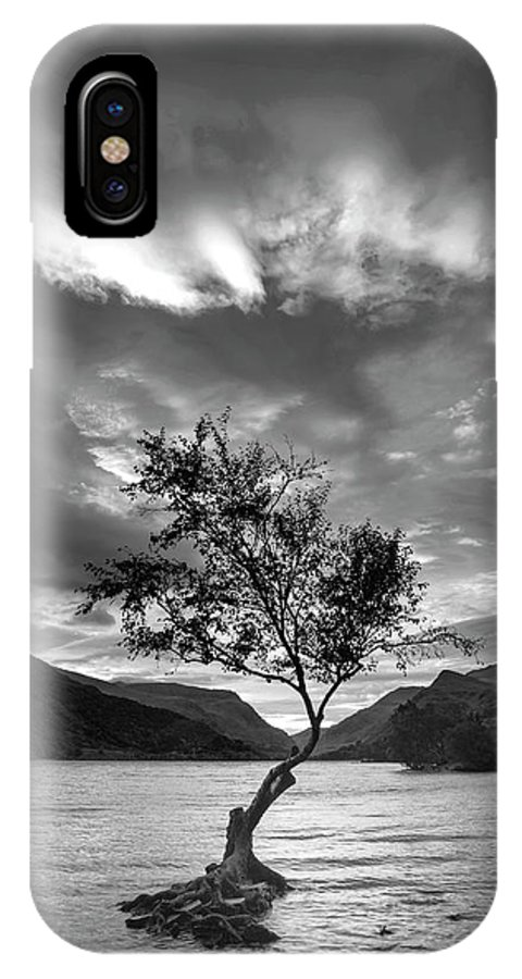 Landscape IPhone X Case featuring the photograph Black And White Beautiful Landscape Image Of Llyn Padarn At Sunr by Matthew Gibson
