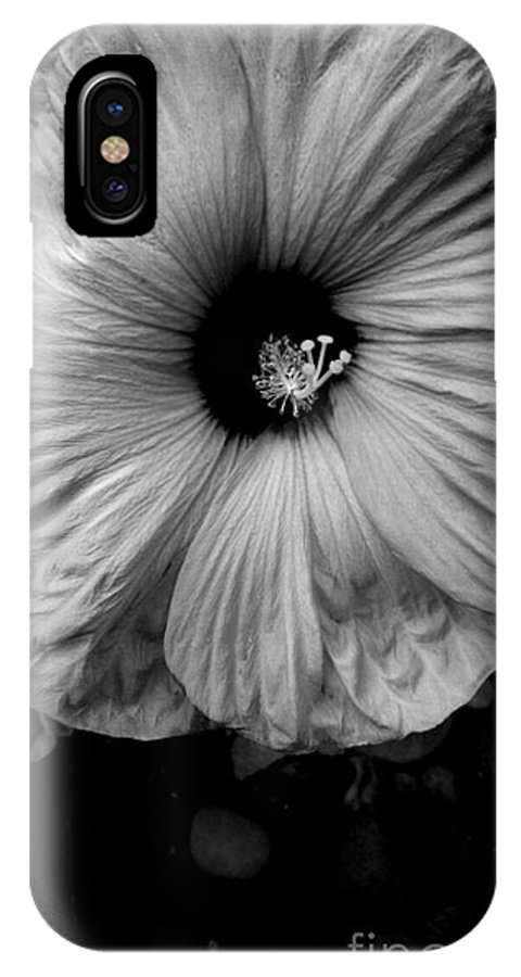 Hibiscus IPhone X / XS Case featuring the photograph Black And White Hibiscus by LKB Art and Photography