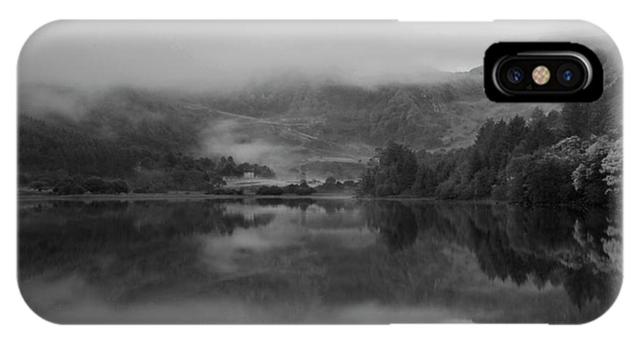 Landscape IPhone X Case featuring the photograph Black And White Landscape Of Llyn Crafnant During Foggy Autumn M by Matthew Gibson