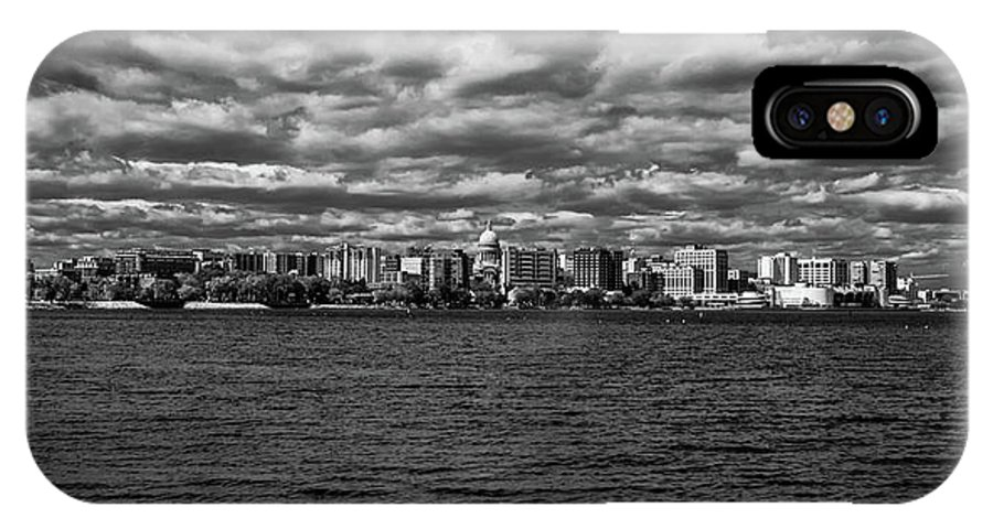 Madison IPhone X Case featuring the photograph Black And White Mad Town by Rockland Filmworks