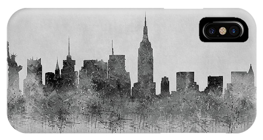 New York IPhone X Case featuring the digital art Black And White New York Skylines Splashes And Reflections by Georgeta Blanaru