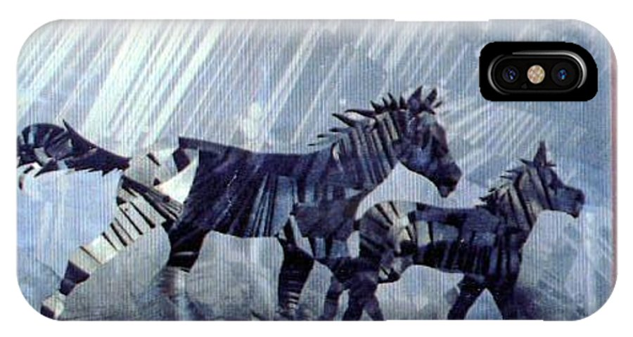 Wildlife IPhone X Case featuring the painting Black And White Nineteen Fifty Six by Rick Silas