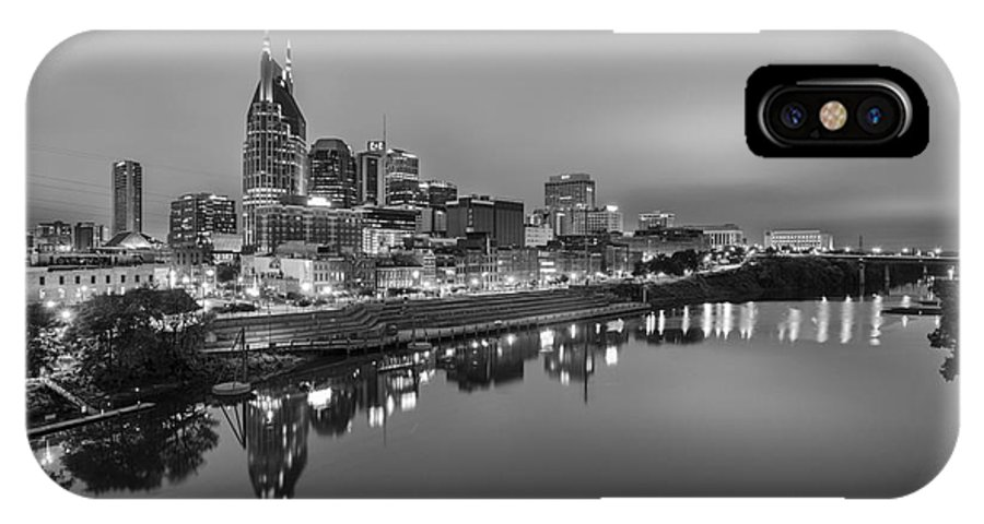 B&w IPhone X Case featuring the photograph Black And White Of Nashville Tennessee Skyline Sunrise by Jeremy Holmes