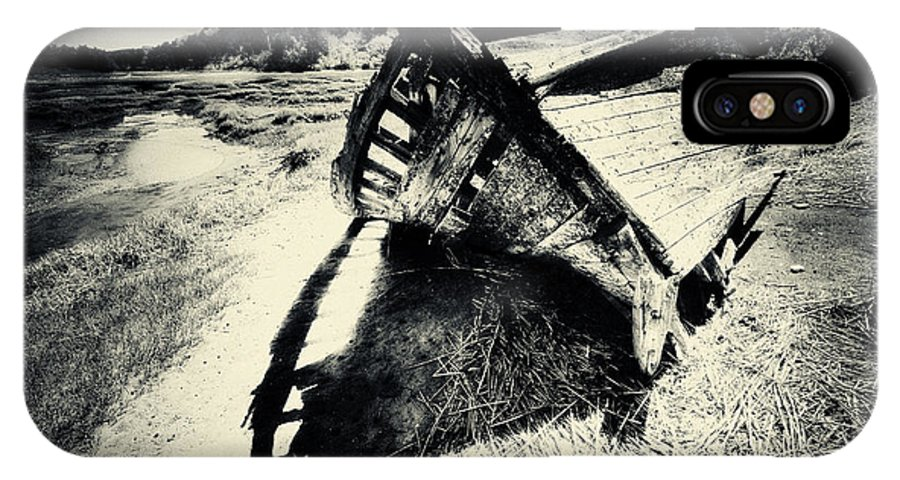 Black And White Photography IPhone X Case featuring the photograph Black And White Photography Shipwreck Pinhole by Dapixara Art
