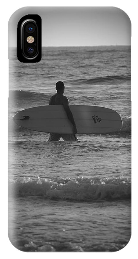 Black & White Surfer Beach Surfboard Beach Ocean Landscape IPhone X Case featuring the photograph Black And White Surfer by Kelly Wade