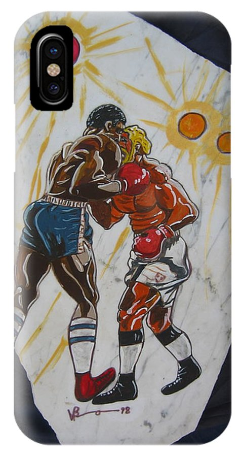 Boxing IPhone X Case featuring the mixed media Black And White by V Boge