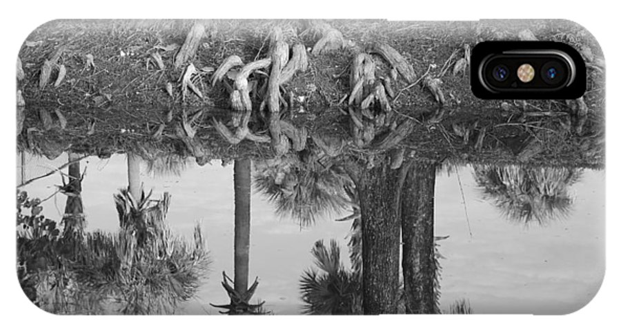 Roots IPhone X Case featuring the photograph Black And White Water Reflections by Rob Hans