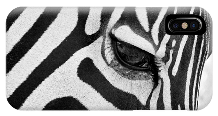Zebra IPhone X Case featuring the photograph Black And White Zebra Close Up by Pierre Leclerc Photography