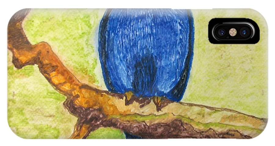 Birds IPhone X Case featuring the painting Black As Blue Bird by Patricia Arroyo