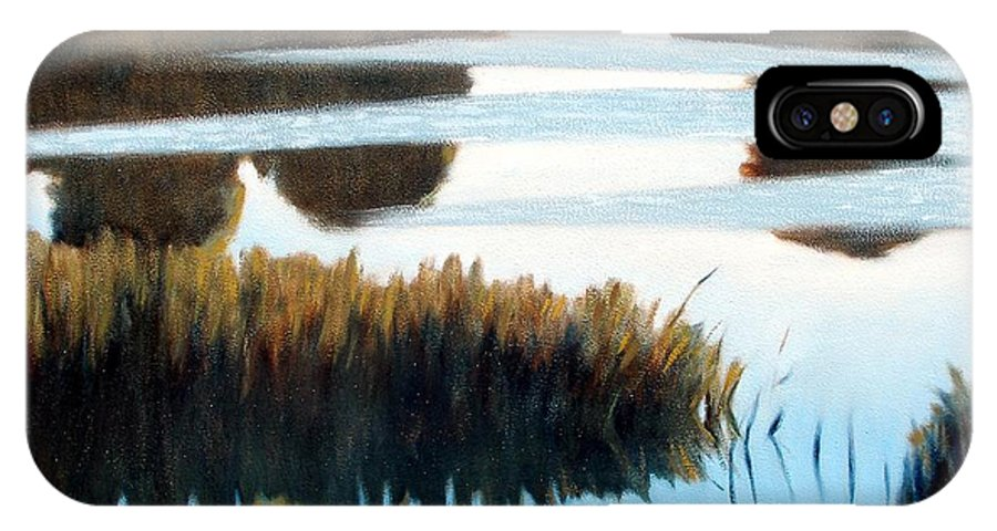 Water IPhone X Case featuring the painting Black Bayou by Kevin Lawrence Leveque