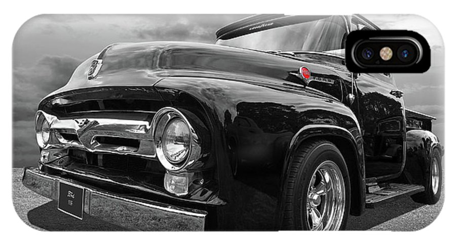 Ford F100 IPhone X Case featuring the photograph Black Beauty - 1956 Ford F100 by Gill Billington