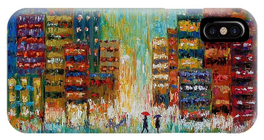 Street Scene IPhone X Case featuring the painting Black Coats by Debra Hurd