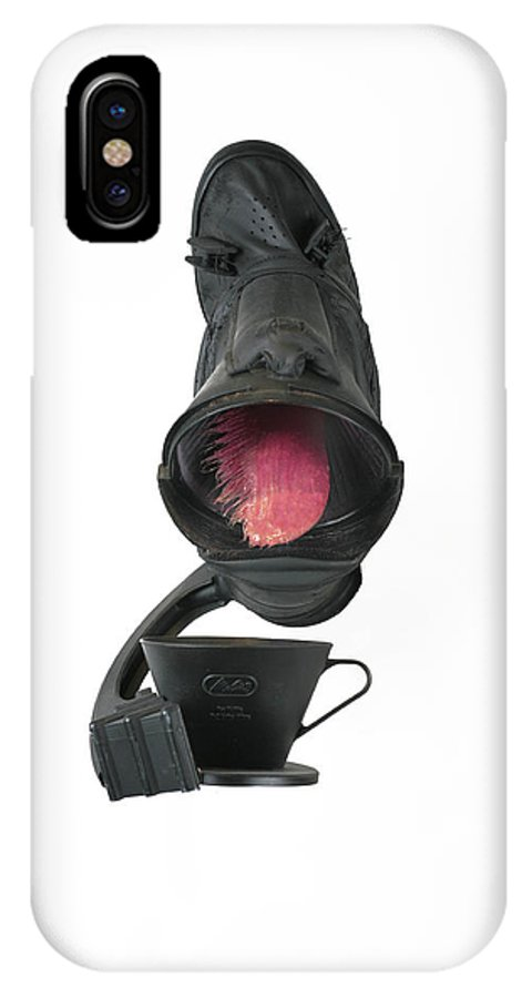 Green IPhone X Case featuring the mixed media Black Coughee by Michael Jude Russo