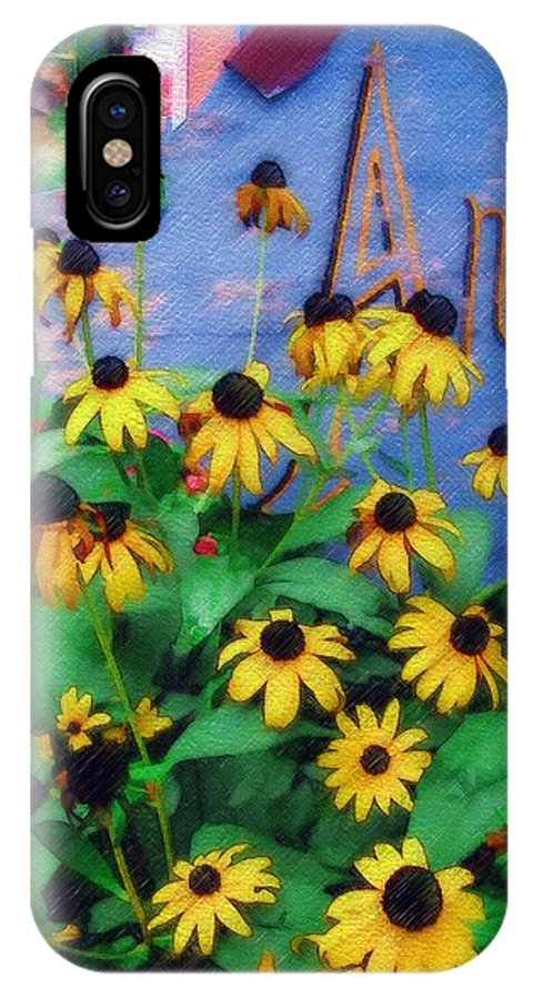 Flowers IPhone X Case featuring the photograph Black-eyed Susans At The Bag Factory by Sandy MacGowan