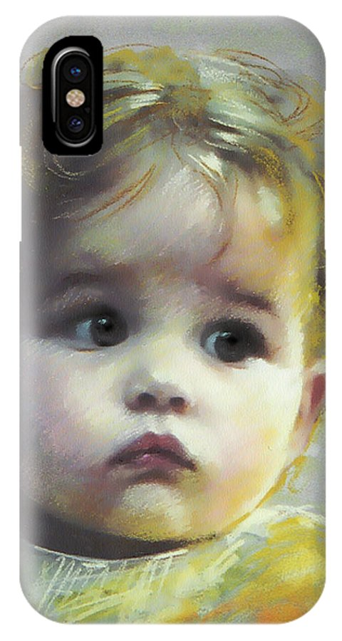 Portrait IPhone X Case featuring the pastel Black Eyes by Ylli Haruni