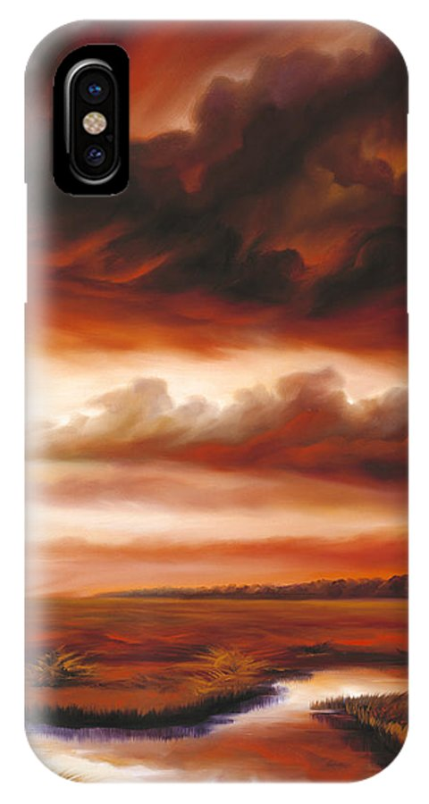 Contemporary IPhone X Case featuring the painting Black Fire by James Christopher Hill
