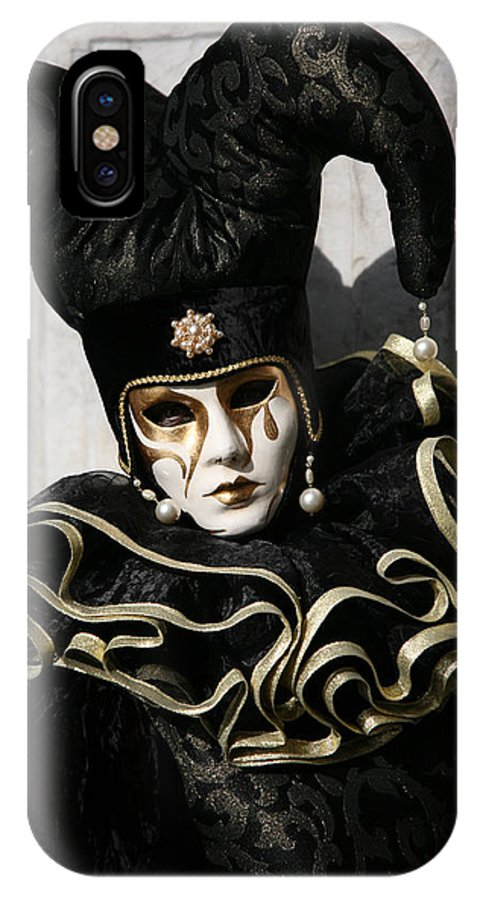 Black IPhone X Case featuring the photograph Black Jester by Donna Corless