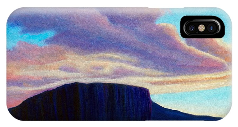 Landscape IPhone X / XS Case featuring the painting Black Mesa Sunset by Brian Commerford