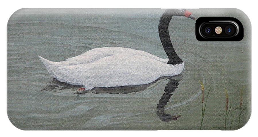 Black Necked Swan IPhone X Case featuring the painting Black Necked Swan by Juan Enrique Marquez