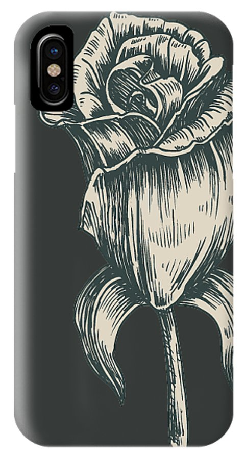 Vintage Rose IPhone X Case featuring the digital art Black On Black by ReInVintaged