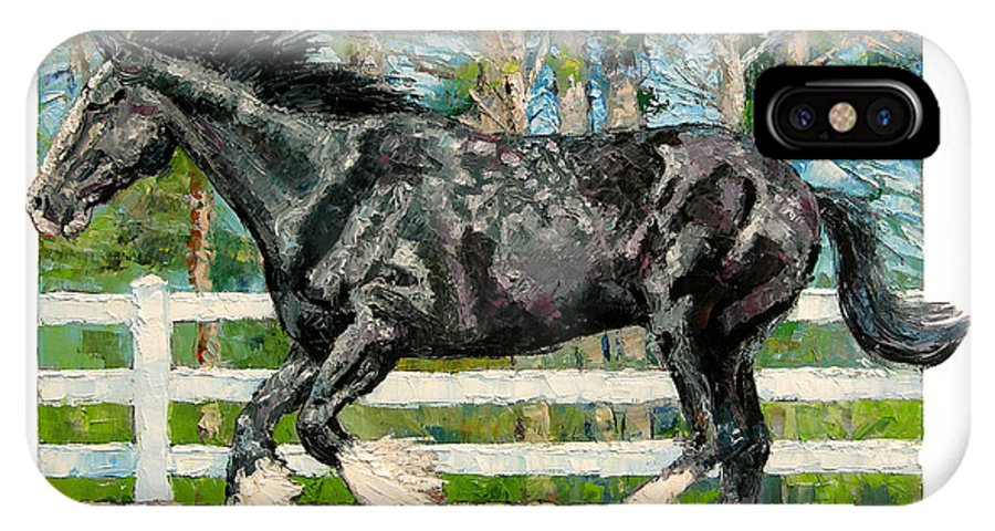 Horse IPhone X Case featuring the painting Black Power by John Lautermilch