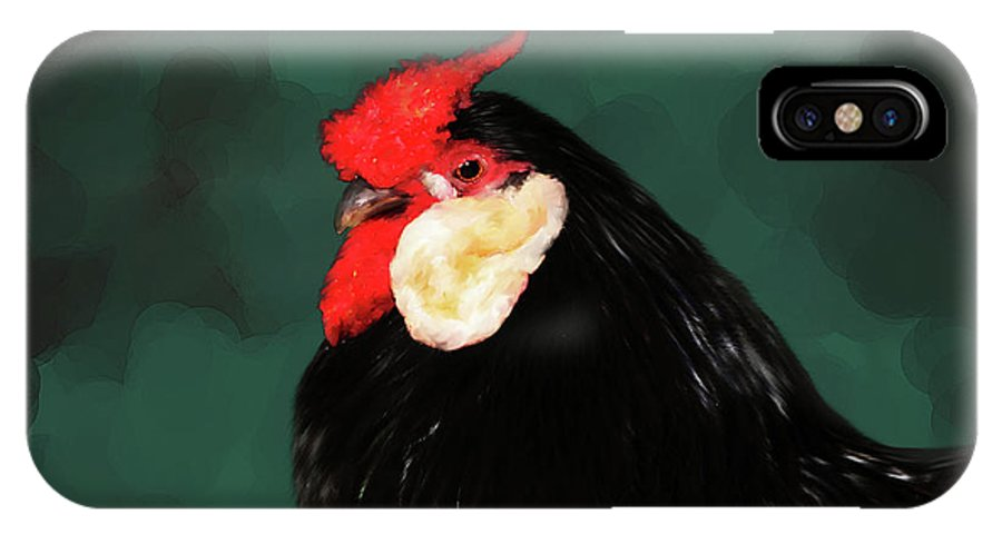 Chicken IPhone X Case featuring the digital art Black Rooster Number Two by Lisa Redfern